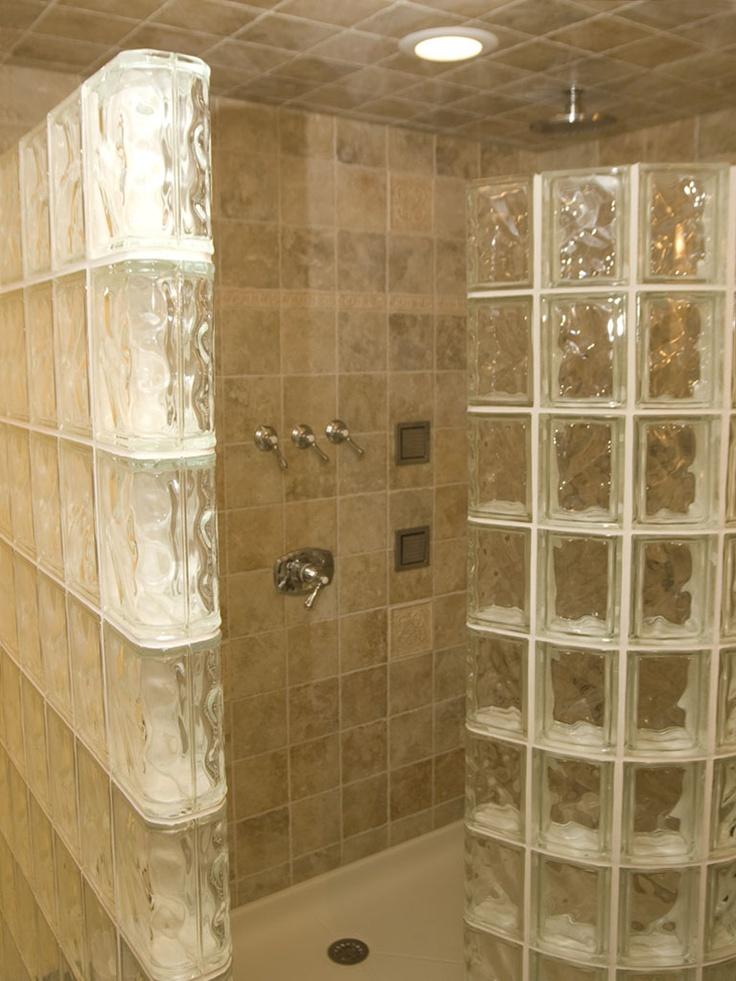 Glass Block Shower Bathrooms Pinterest