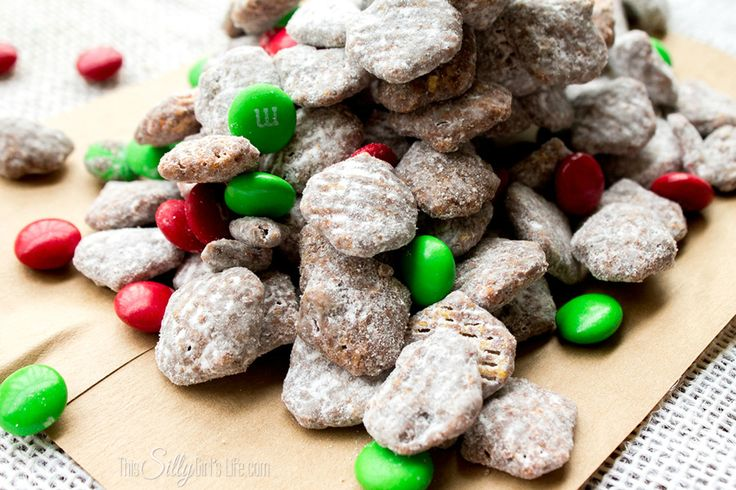 Reindeer Chow, commonly known as muddy buddies but with a fun holiday ...