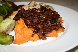 Sweet potato puree with caramelized onions