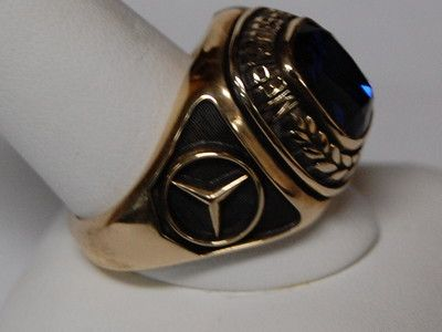 Men 39 s mercedes benz syn blue spinel ring 10kt yellow gold for Mercedes benz ring