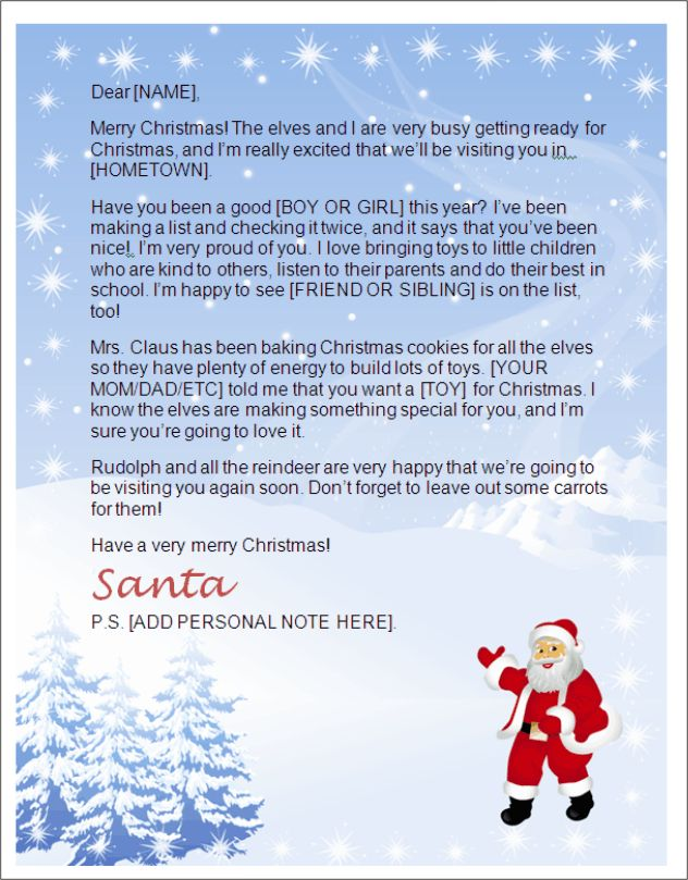 Letter From Santa Template Word | Letters from Santa North Pole ...