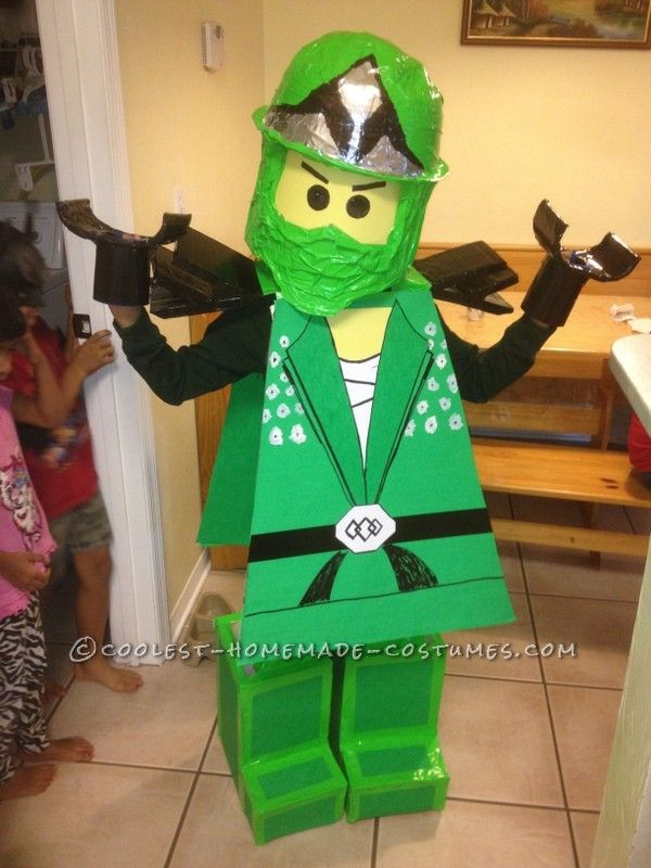Coolest homemade green ninjago halloween costume for a boy for Easy halloween costume ideas for boys