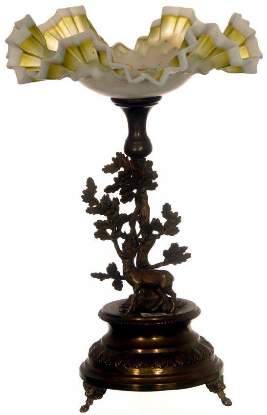 Невесты Basket - зеленый и белый Ruffled Чаша с эмалью Цветочный декор набор на свинка Металл Фигурный оленя и основание дерева