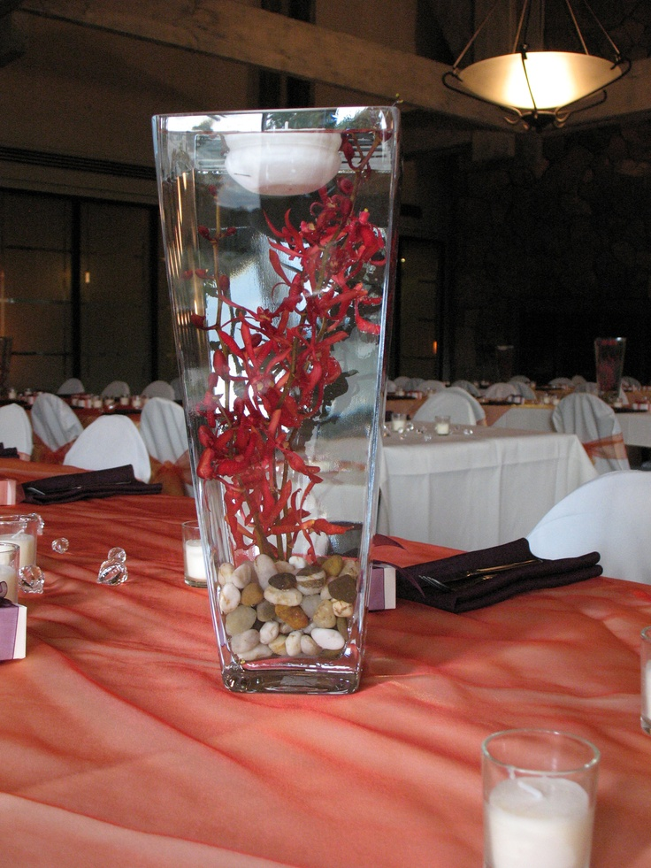 Red orchid centerpiece our weddings events pinterest