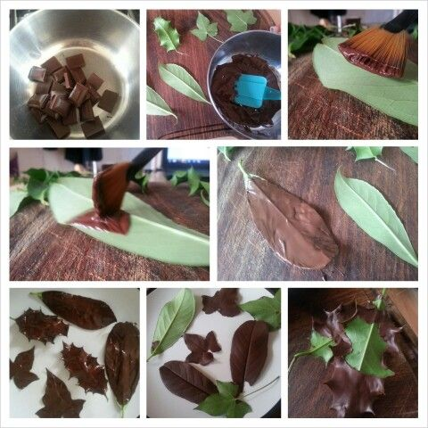 How to make chocolate leaves Chocolate cake decorations ...