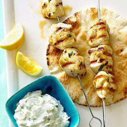 Chicken souvlaki with tzatziki. Very good. I would use half greek ...