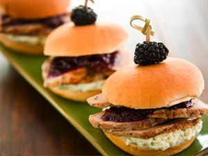 Grilled Pork Tenderloin Sliders with a Berry Sauce and Blue Cheese Bu ...