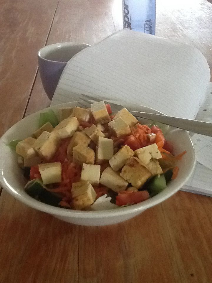Marinated Tofu Salad Two rectangle half inch pieces of extra firm tofu ...