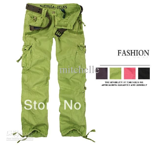 Popular  Green Camouflage Cargo Pants Women Army Fatigue Pants Loose Jeans
