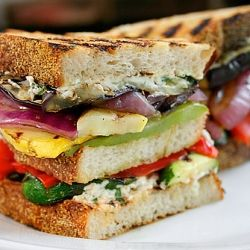 Grilled Vegetable and Goat Cheese Sandwich. Like having a garden ...