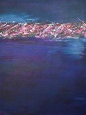 Horizon 6. 30x40 deep, gallery wrapped canvas Acrylic. Artist Kim Rodeffer Funk