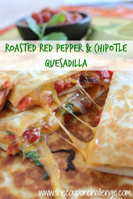 Roasted Red Pepper and Chipotle Quesadilla {Mexican Quesadilla Recipes}