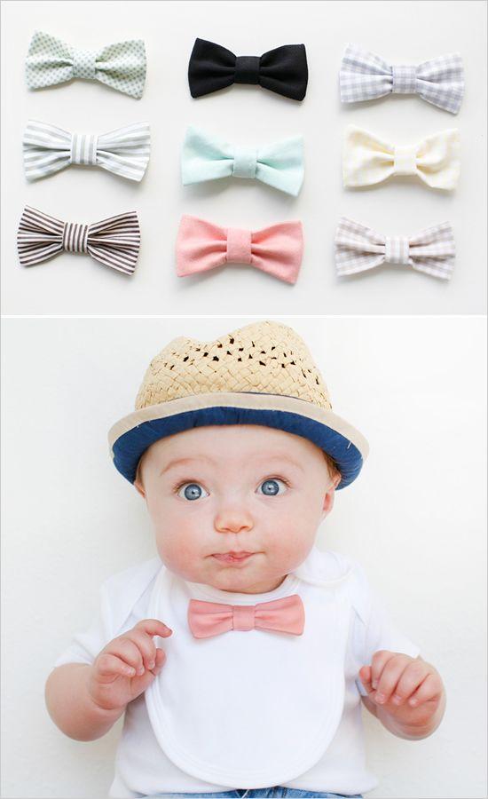Bow tie bibs. Adorable tiny gentlemen!