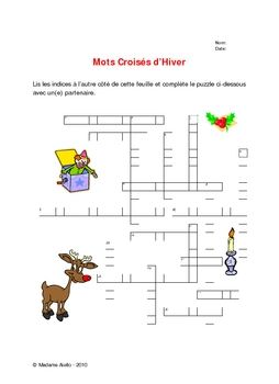 Free Christmas/Winter Crossword | French Holidays and Holiday Activit ...