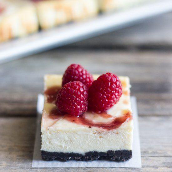 Raspberry swirl cheesecake bars | Desserts | Pinterest