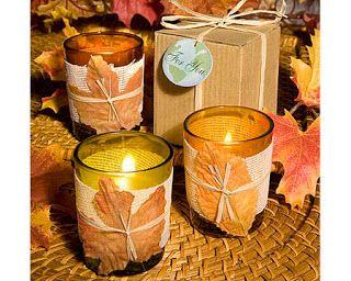 Zelfgemaakte herfstige kaarsjes - Autumn presents by Handmade by Sandra #DIY