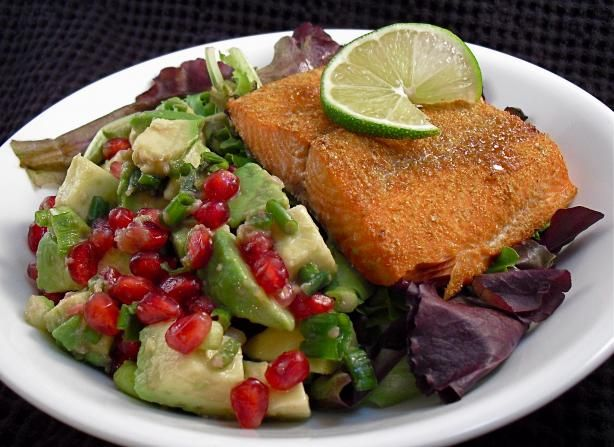 Salmon With Pomegranate-Avocado Salsa | Recipe