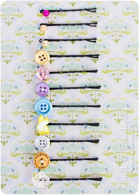 Bobby pins and old buttons. With tutorial. hetzijstraatje