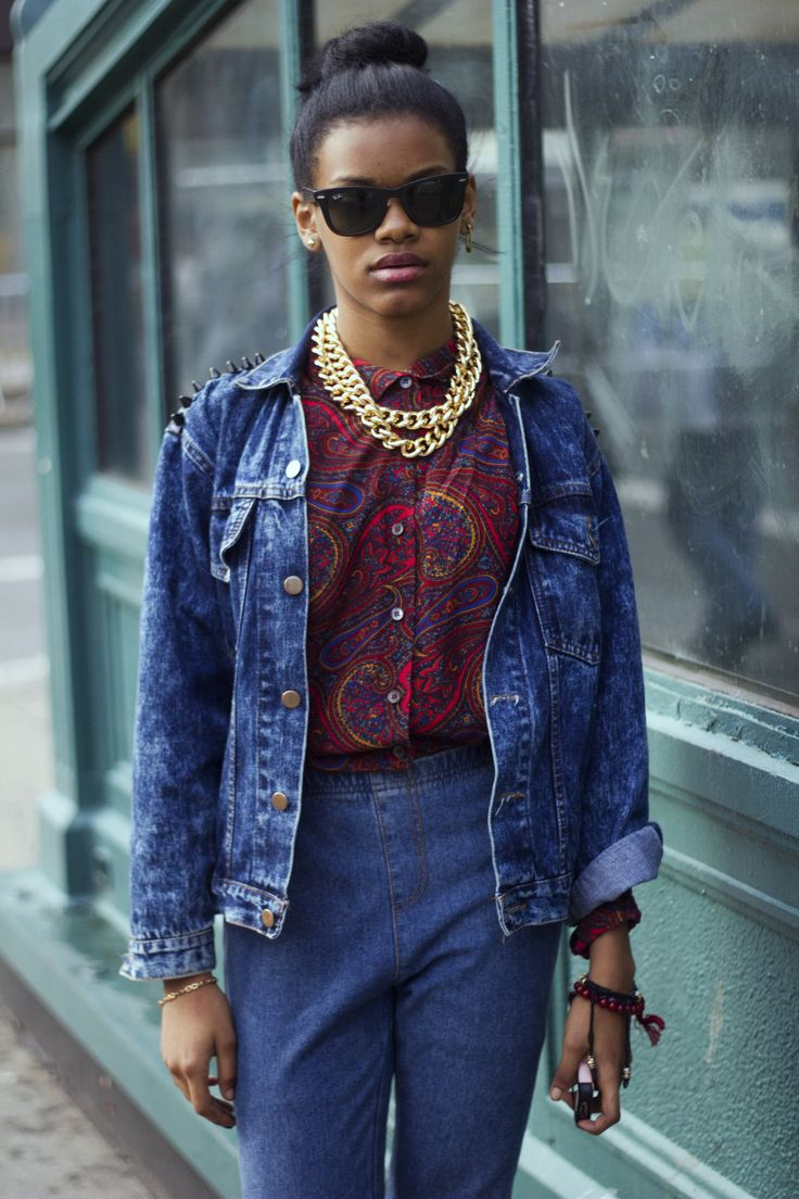 Denim on denim, statement necklace, paisley top