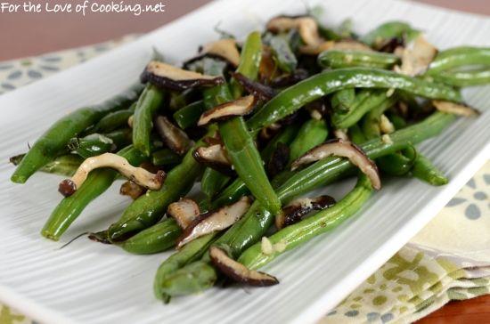 Roasted Green Beans with Shiitake Mushrooms and Garlic