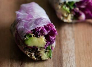 Sesame Crusted Avocado and Cabbage Spring Rolls - Door to Door ...