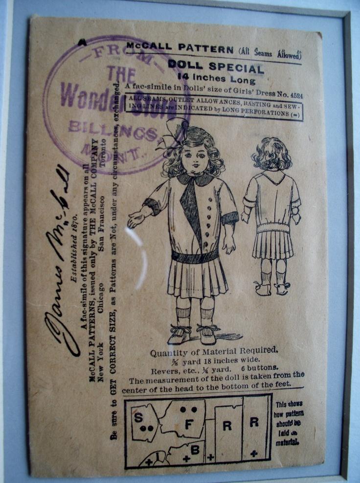 Vintage McCalls doll dress pattern