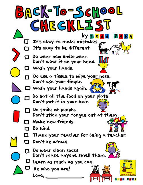 Love Todd Parr. Fun checklist to share with parents.
