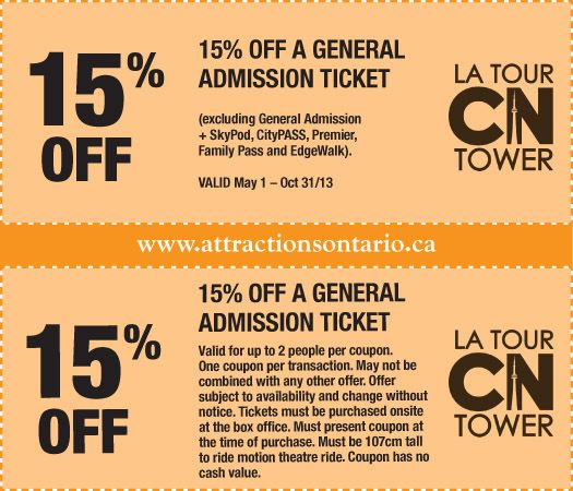 Cn tower discount coupons