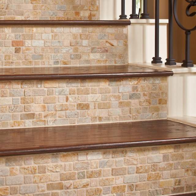 Tile wood stairs yes please home pinterest - Stairs with tile and wood ...