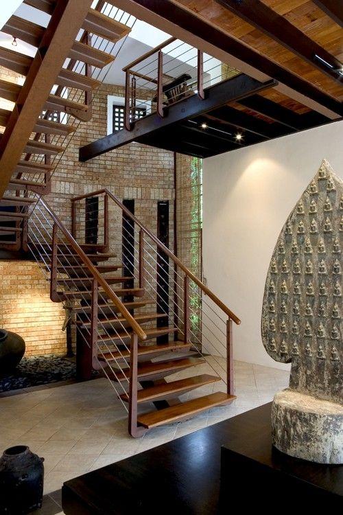 Open wooden staircase to mezzanine level next pinterest - Open mezzanine ...