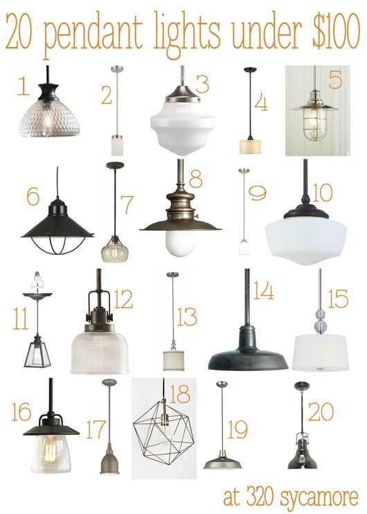 20 great pendant lights under $100 --- kitchen lighting - 320 * Sycamore blog