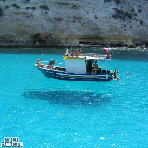 Levitating boat or really clear water?