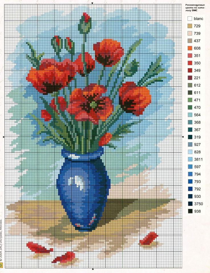 Схема вышивки «цветы в вазе» - Вышивка крестом pano 3