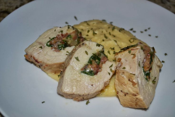 Creamy Polenta and Stuffed Chicken (Spinach, Bacon, Mozzarella)