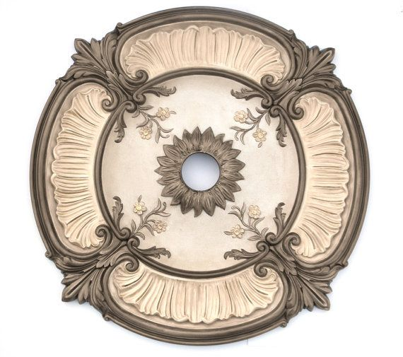 Ceiling medallion custom ACANTHUS LEAF painted bronze for ...