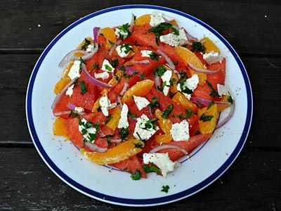 ... favorite recipes, Watermelon Orange and Feta Salad, great summer salad