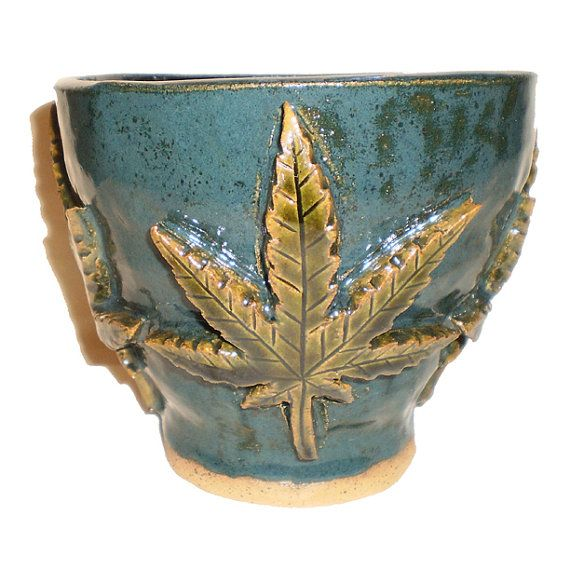 Cannabis Flower Pot - Ceramic Hand-built slab pot with Marijuana Ganj ...