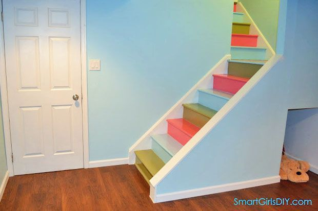 Multicolored painted basement stairs staircase pinterest