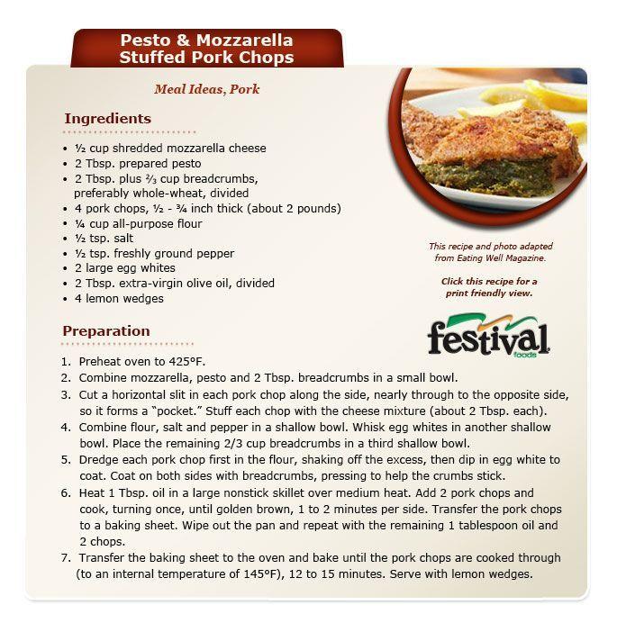 Pesto and mozzarella stuffed pork chops recipe #pork #chop #recipes