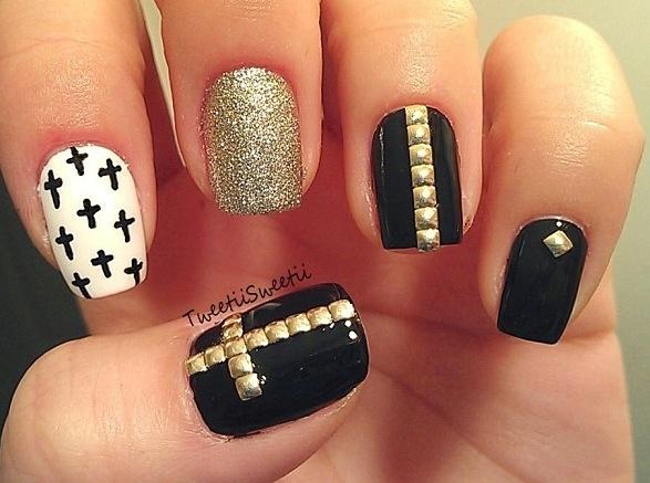 Cross nail art | nails | Pinterest