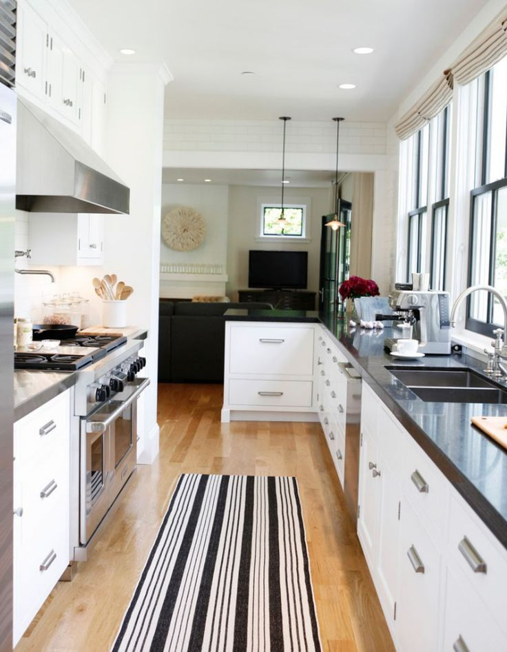 Modern farmhouse rue mag kitchen pinterest for Pictures of galley kitchens
