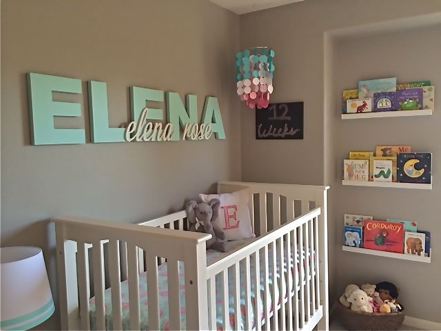 Wooden name above crib - adorable!