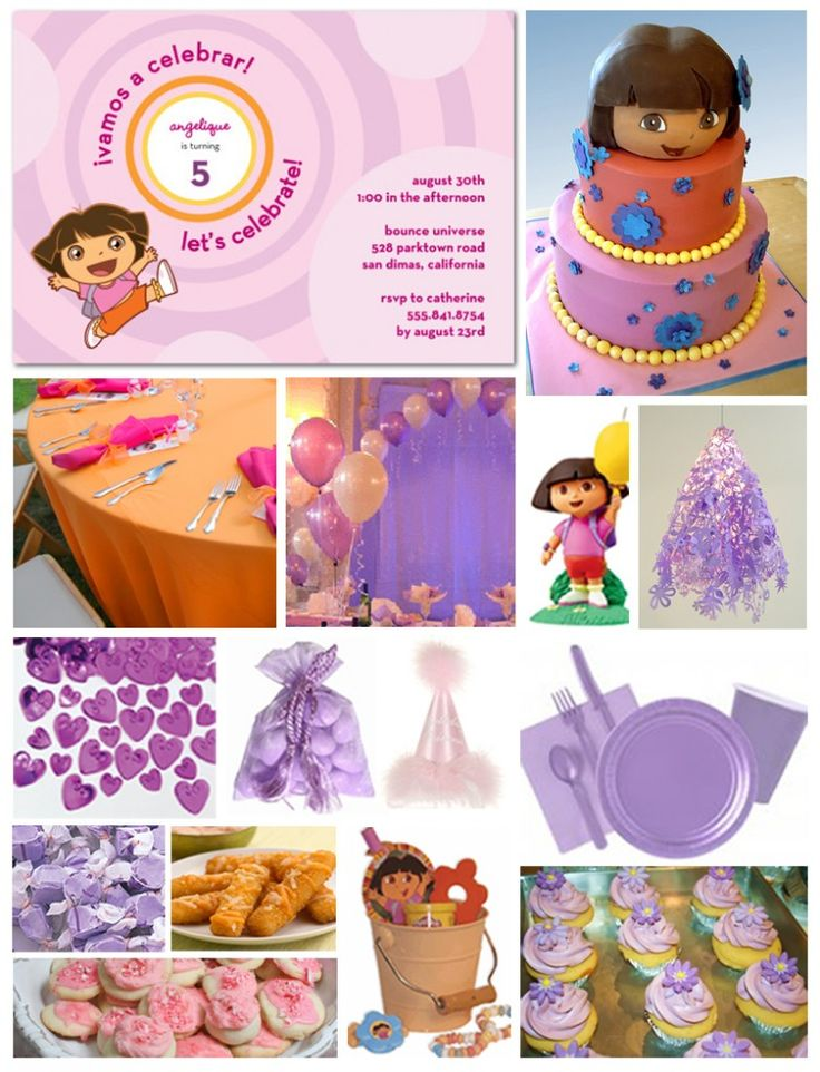 Inspiration board for a Dora the Explorer party idea.