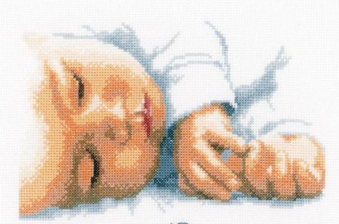 Вышивка метрика младенец на руках 79