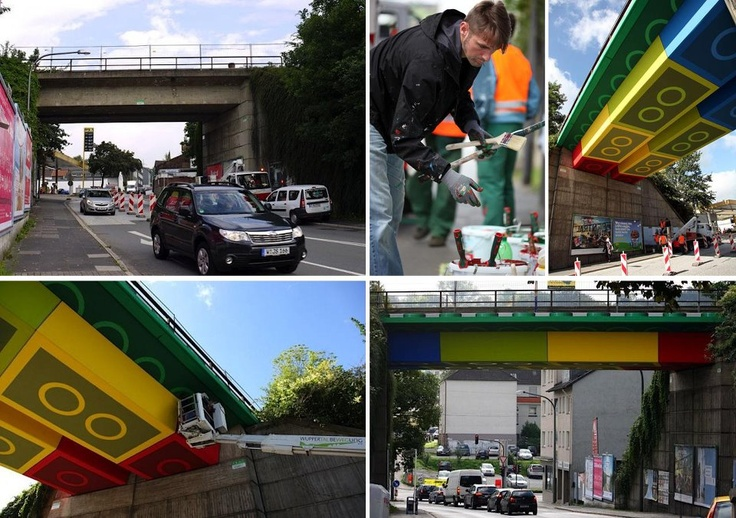 LEGO-Bridge by german streetartist Megz. #streetart #LEGO (via @mcwinkel) [viralmente] #guerrillamarketing #marketing #street
