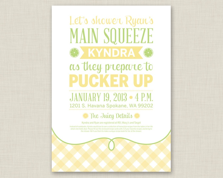 Pucker Up / Lemon Bridal Shower Invitation / Summer Bridal Shower. $15 ...