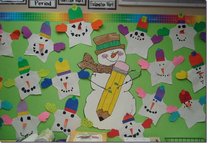 Snowmen in the classroom - 1st grade books and crafts