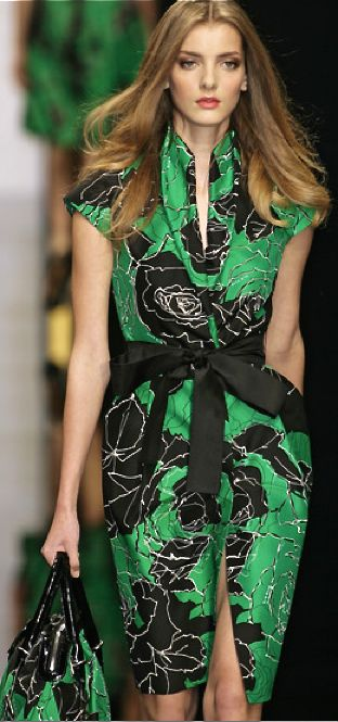 Elie Saab - green and black dress