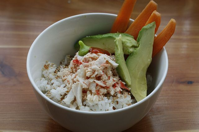 Sushi Bowl. Use 16oz crabmeat (1/3c per serving), 6 Tbs light mayo, 2 ...