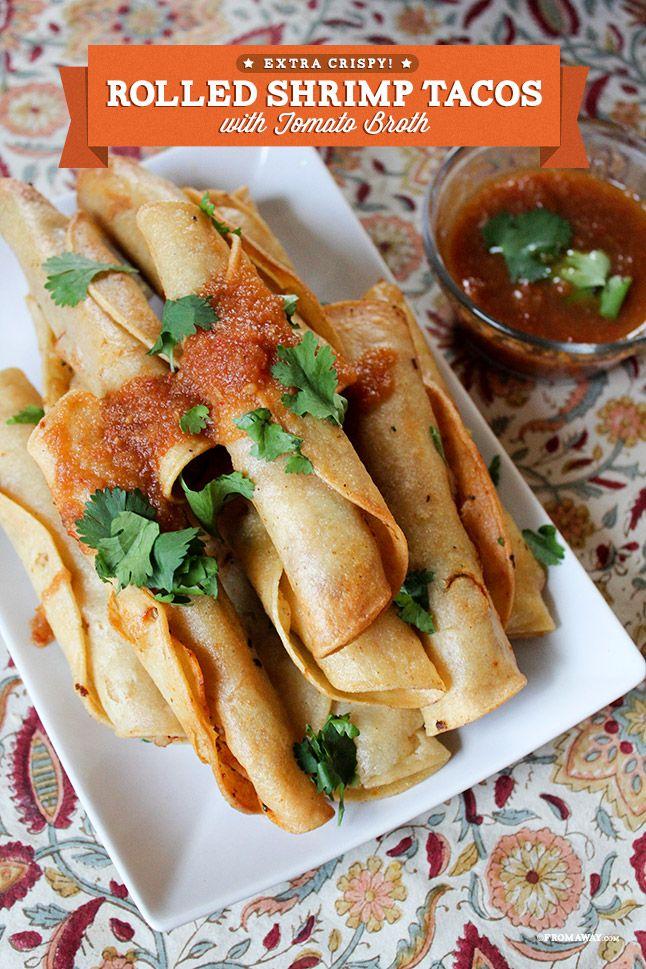 Crispy Rolled Shrimp Tacos. Make a platter-full for the party!